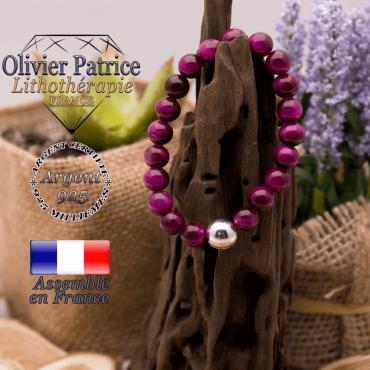 Bracelet Œil de Tigre teinte violette boule argent 925 - 10mm