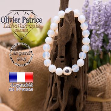 Bracelet opale et sa boule en argent 925 - 10 mm