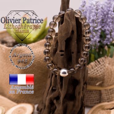 Bracelet quartz fumé pierre naturelle et argent 925 - 10 mm