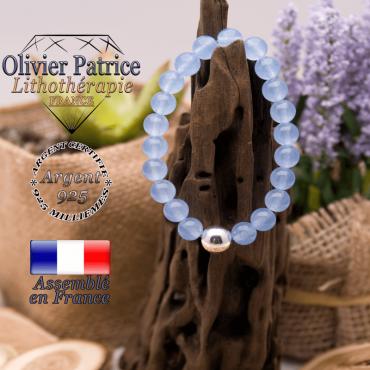 Bracelet agate bleue et sa boule brillante en argent 925 - 10 mm