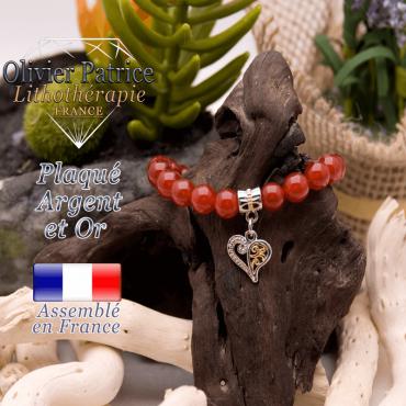Bracelet cornaline charms coeur plaqué or et argent