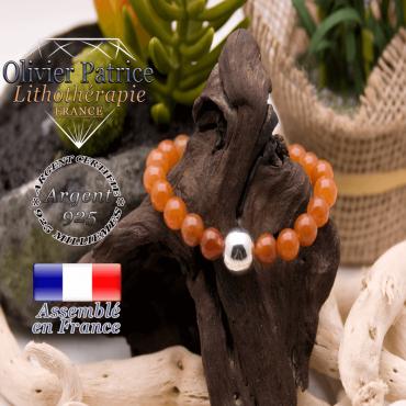 Bracelet en aventurine orange et boule en argent 925 - 12 mm
