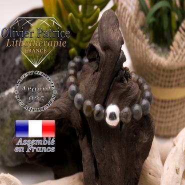 Bracelet de labradorite et boule argent 925 -12 mm
