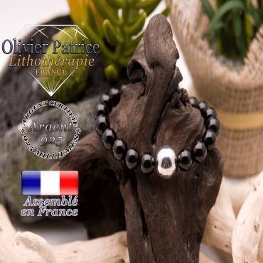Bracelet obsidienne œil céleste et boule argent 925 -12 mm