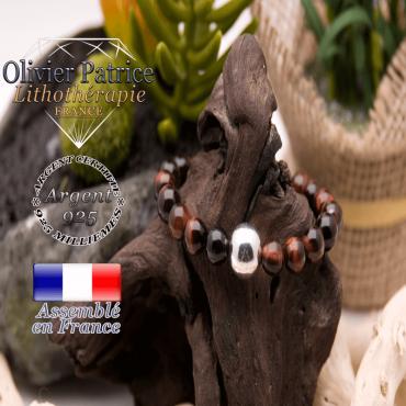 Bracelet œil de taureau en argent 925 - 12 mm