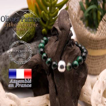 Bracelet Œil de Tigre teinte verte et boule argent 925 - 12 mm