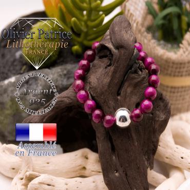 Bracelet Œil de Tigre teinte violette boule argent 925 - 12 mm