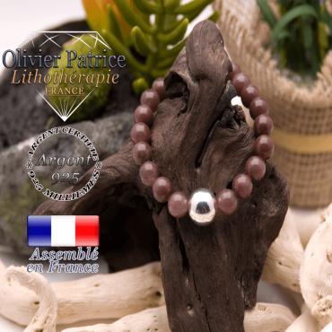 Bracelet de quartz raisin et sa boule en argent 925 - 12 mm