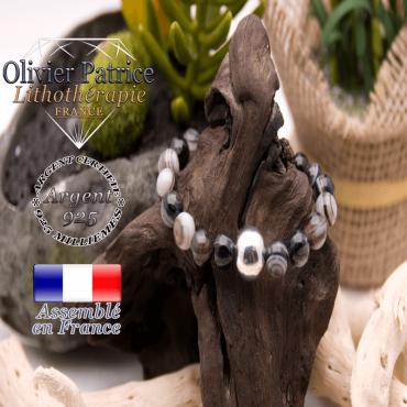 Bracelet sardonyx et sa boule argent 925 - 12 mm
