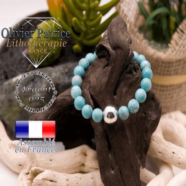 Bracelet turquoise et sa boule en argent 925 - 12 mm