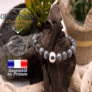 Bracelet pierre d'aigle et sa boule lisse en argent 925 - 12 mm