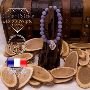 Bracelet angélite cage strass en argent 925