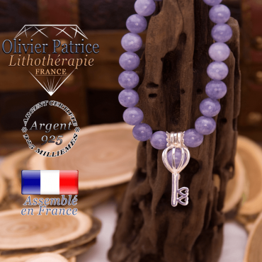 Bracelet angélite cage clé en argent 925