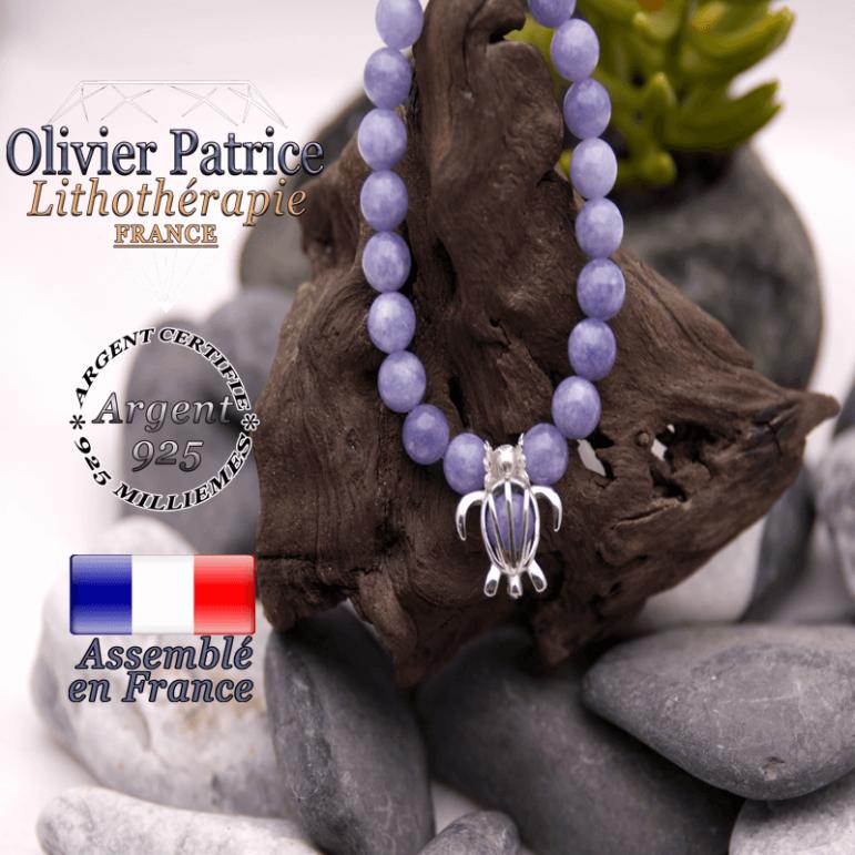 Bracelet angélite cage tortue en argent 925