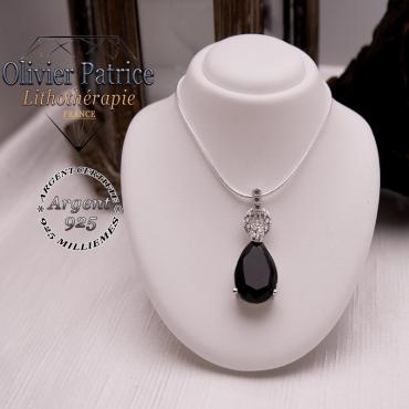 Pendentif de la Parure Onyx pendentif et boucles d'oreilles en argent 925