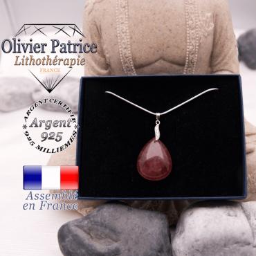 Pendentif quartz fraise en argent 925 dans son écrin