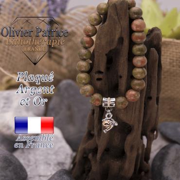 Bracelet unakite charms dauphin plaqué or-argent
