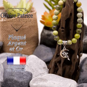 Bracelet turquoise africaine charms lune plaqué or argent