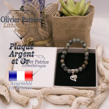 Bracelet turquoise bleue africaine charms coeur plaqué or-argent
