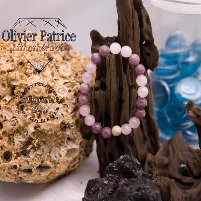 Bracelet quartz rose et lépidolite avec boule brillante en argent 925