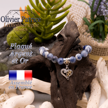 Bracelet sodalite charms coeur plaqué or-argent à choisir