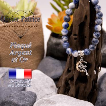 Bracelet sodalite charms fée plaqué or-argent à choisir