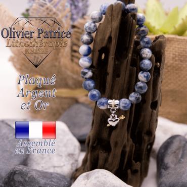 Bracelet sodalite charms coeur avec fleche plaqué or-argent à choisir
