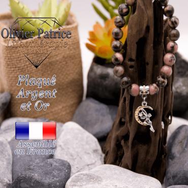 Bracelet rhodonite charms fée plaqué or-argent