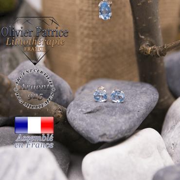 Parure topaze bleue en argent 925 : pendentif et boucles d'oreilles