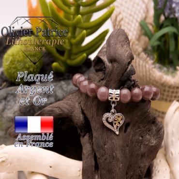 Bracelet quartz raisin charms coeur plaqué or-argent