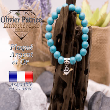 Bracelet turquoise charms coeur avec fleche plaqué or-argent