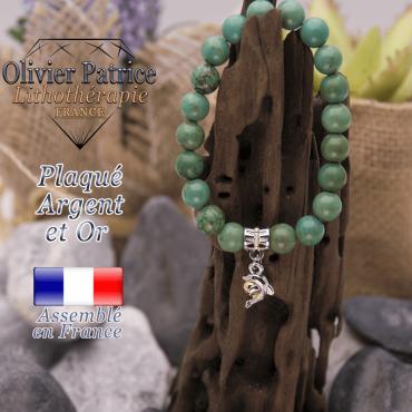 Bracelet turquoise du Tibet charms  dauphin plaqué or-argent