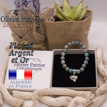 Bracelet agate crazy lace bleu charms coeur plaqué or-argent