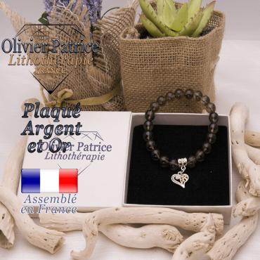 Bracelet quartz fumé charms coeur plaqué or-argent