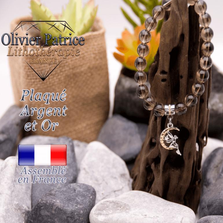 Bracelet quartz fumé charms fée plaqué or-argent