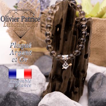 Bracelet quartz fumé charms coeur avec fleche plaqué or-argent