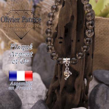 Bracelet quartz fumé charms dauphin plaqué or-argent