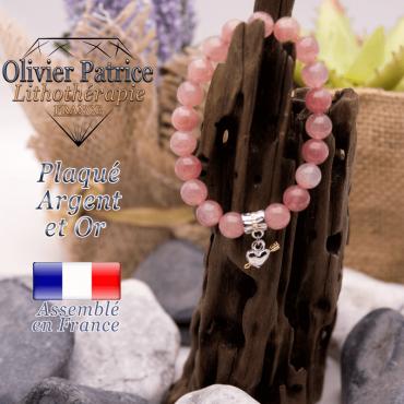 Bracelet quartz fraise charms coeur avec fleche plaqué or-argent