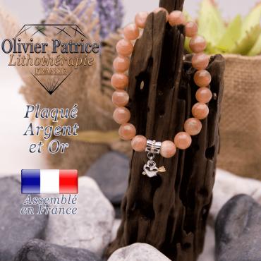 Bracelet pierre de soleil charms coeur avec fleche plaqué or-argent