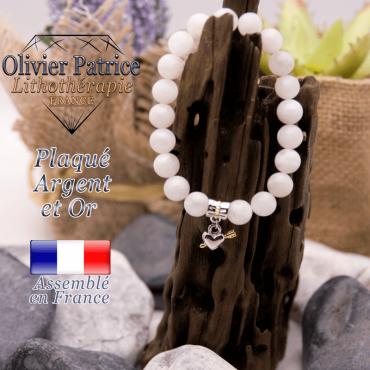 Bracelet pierre de lune charms coeur avec fleche plaqué or-argent