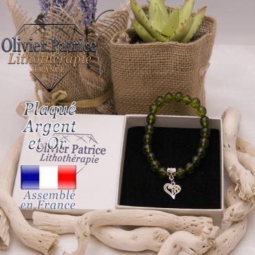 Bracelet péridot et son charms coeur plaqué or-argent