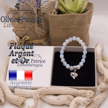Bracelet opale charms coeur plaqué or et argent