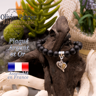 Bracelet onyx mat charms coeur plaqué or-argent