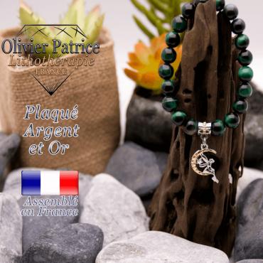 Bracelet Œil de tigre teinte verte charms fée plaqué or-argent