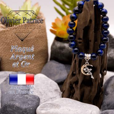 Bracelet oeil de tigre teinte bleue charms fée plaqué or-argent