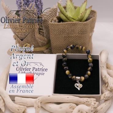 Bracelet oeil de faucon charms coeur plaqué or-argent
