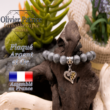 Bracelet pierre d'aigle charms coeur plaqué or-argent