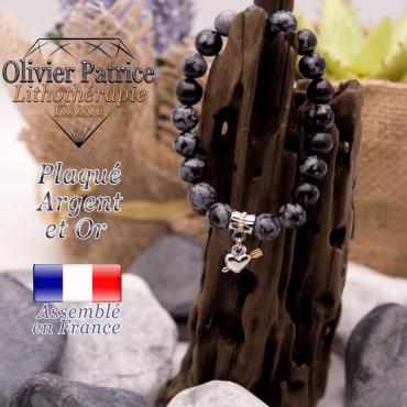Bracelet obsidienne neige charms coeur avec fleche plaqué or-argent