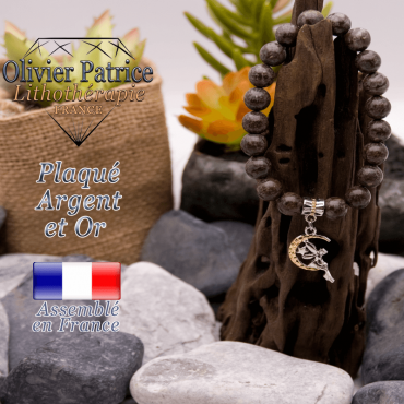 Bracelet obsidienne neige brune charms fée plaqué or-argent