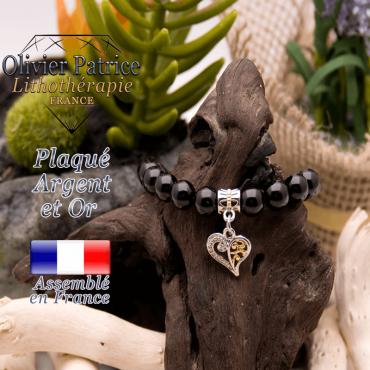 Bracelet obsidienne œil céleste charms coeur plaqué or-argent